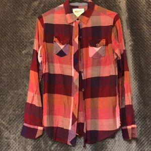 Pink, Maroon, and Orange Plaid Button-Up